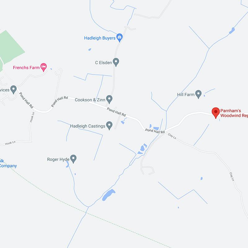 Parnham's Woodwind Repairs map